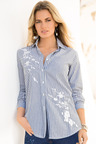 Together Pinstripe Embroidery Shirt