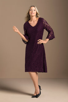 Plus Size - Lace Flute Sleeve Dress