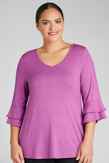 Plus Size - Sara Frill Sleeve Tunic
