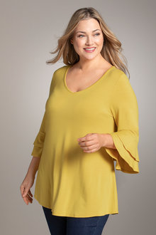 Plus Size - Sara Frill Sleeve Tunic