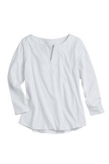 Plus Size - Sara Cotton Notch Neck Tunic