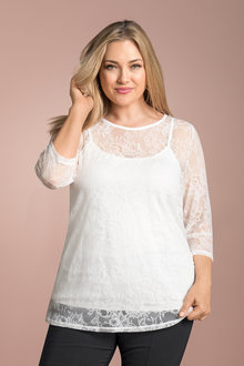 Plus Size - Sara Stretch Lace Top