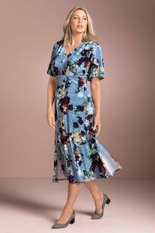 Plus Size - Sara Crush Velvet Printed Dress