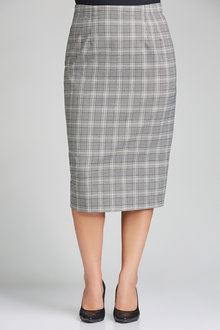Plus Size - Sara Check Midi Skirt