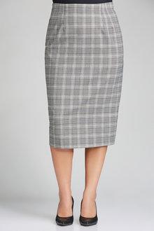 Plus Size - Sara Check Midi Skirt