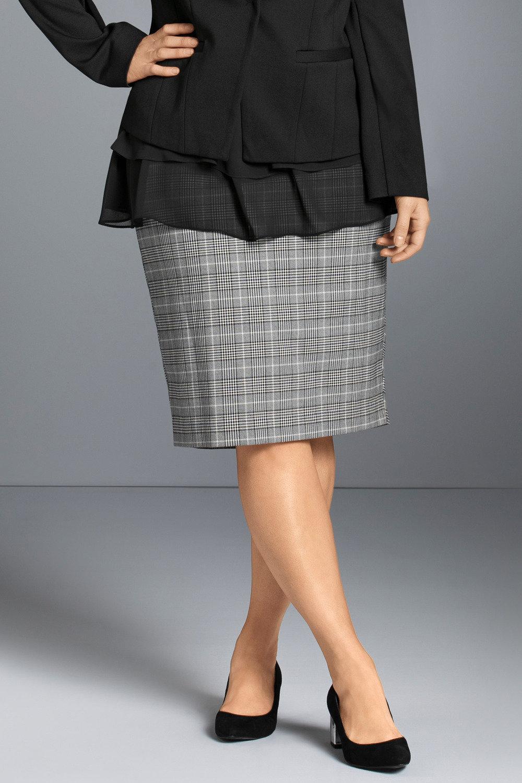 2a02fb2679b50 Plus Size - Sara Check Midi Skirt