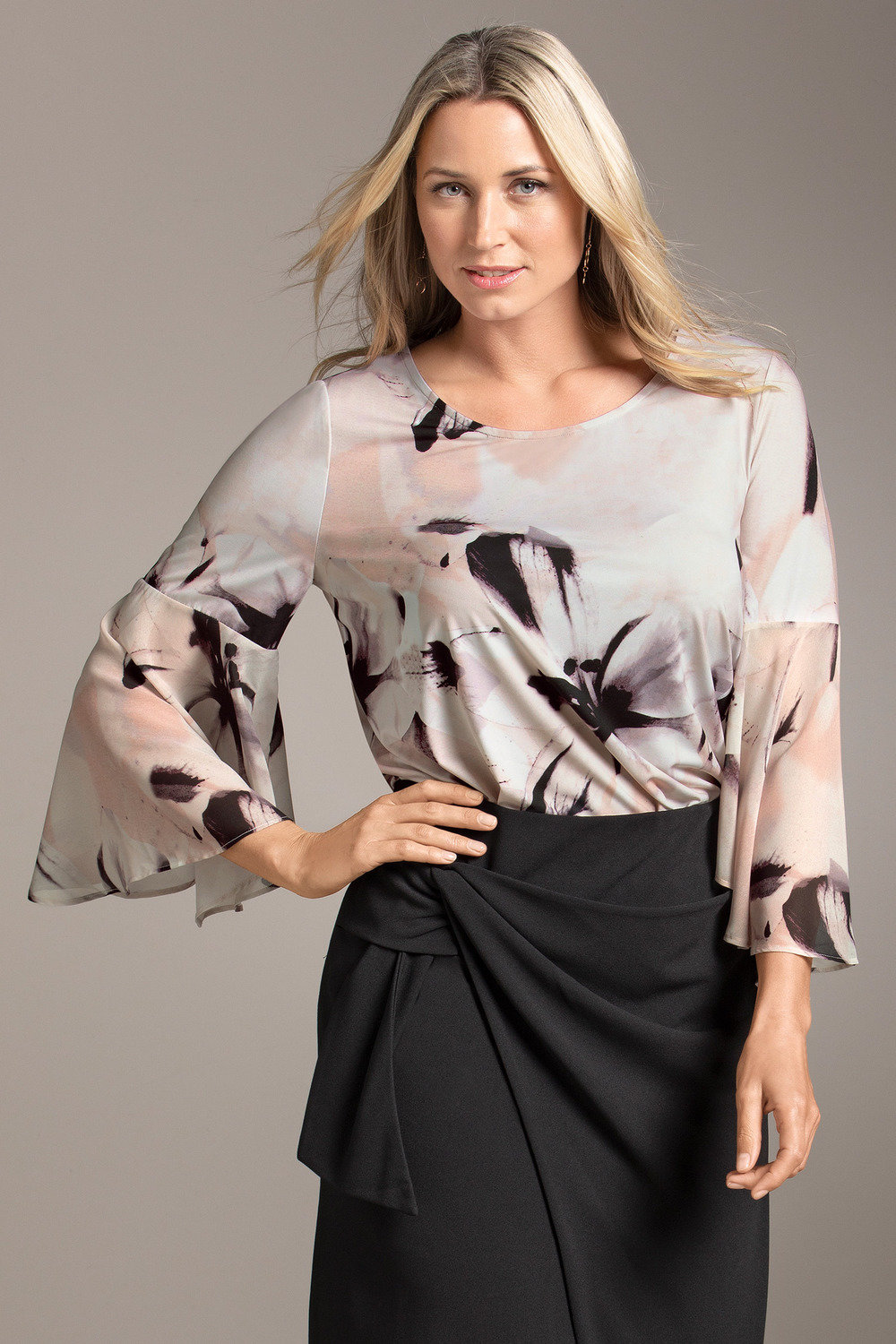 21bd4547f2f2d Plus Size - Sara Knit Sheer Bell Sleeve Top