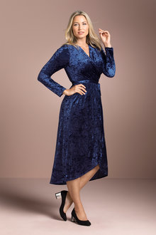 Plus Size - Crush Velvet Wrap Dress