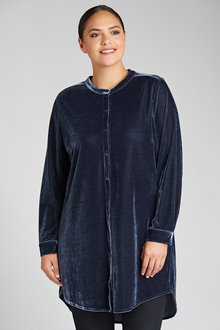 Plus Size - Sara Velvet Longline Shirt
