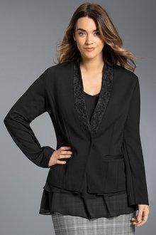 Plus Size - Sara Ponte Lace Trim Blazer