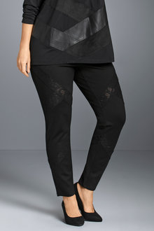 Plus Size - Sara Ponte Lace Trim Pant