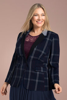 Plus Size - Sara Stretch Check Blazer