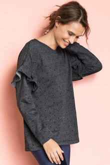 Emerge Ruffle Sleeve Sweatshirt - 195353