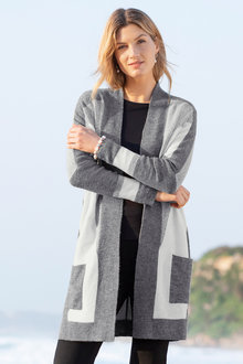 Capture Colour Block Boucle Knit Cardigan