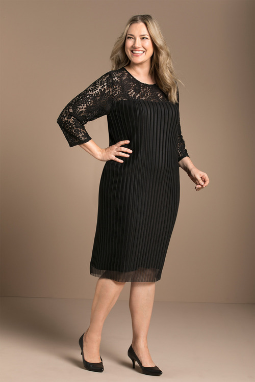 Plus Size - Sara Pleated Lace Dress d526cfa02