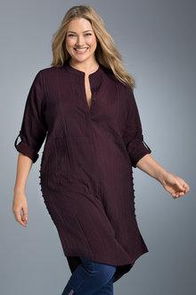 Plus Size - Sara Longline Button Detail Shirt
