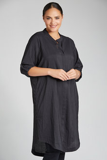 Plus Size - Sara Longline Button Detail Shirt