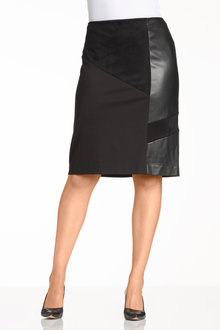 Plus Size - Sara Ponte PU Skirt