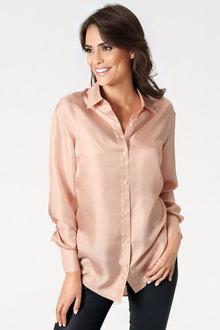 Heine Button Front Silk Shirt