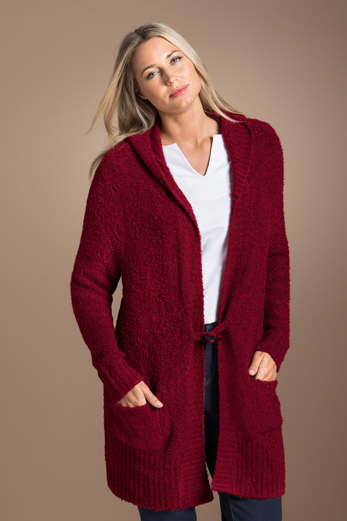 Plus Size - Sara Poodle Hooded Cardigan