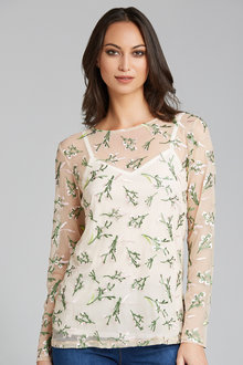 Emerge Long Sleeve Embroidered Top - 195526