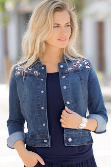 Together Denim Jacket with Embroidery