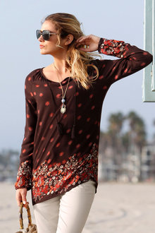 Urban Tie Neck Tunic Top