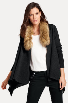 Heine Faux Fur Trim Cardigan - 195586