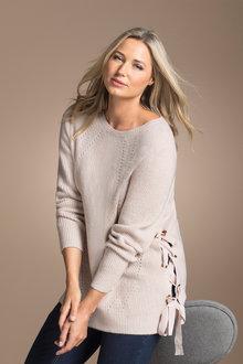 Plus Size - Sara Rib Detail Eyelet Sweater