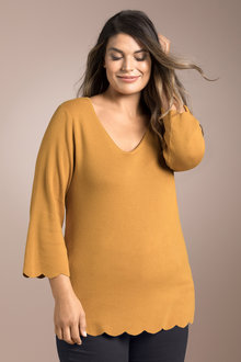 Plus Size - Sara Scalloped Sweater