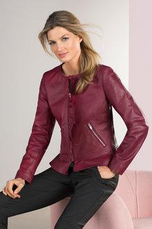 Grace Hill Ruffle Leather Jacket