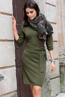 Euro Edit 3/4 Sleeve Knit Dress