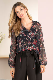 Grace Hill Pleat Front Blouse