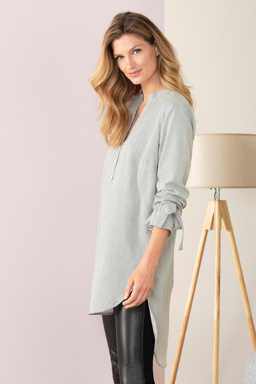 Grace Hill Longline Shirt with Tie Cuff