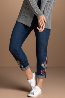 Plus Size - Sara So Slimming Emb Ankle Girlfriend Jean
