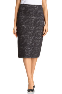 Plus Size - Sara Boucle Stretch Midi Skirt
