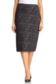 Plus Size - Sara Boucle Stretch Midi Skirt