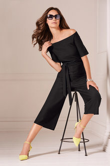 Kaleidoscope Bardot Black Jumpsuit