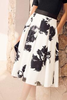 Kaleidoscope Printed Ivory Prom Skirt