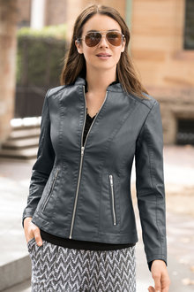 Capture Distressed Faux Leather Jacket