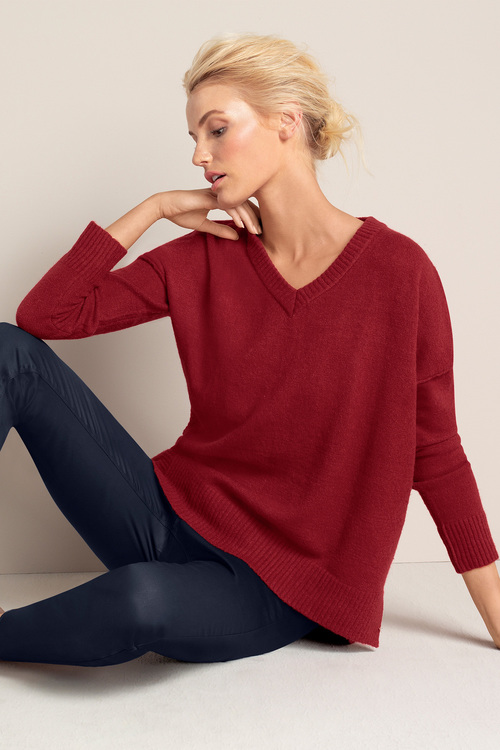 Emerge V Neck Asymmetric Sweater