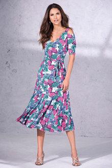 Kaleidoscope Cold Shoulder Print Dress