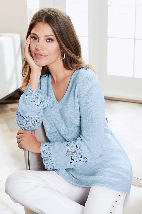 Together Crochet Trim Sweater