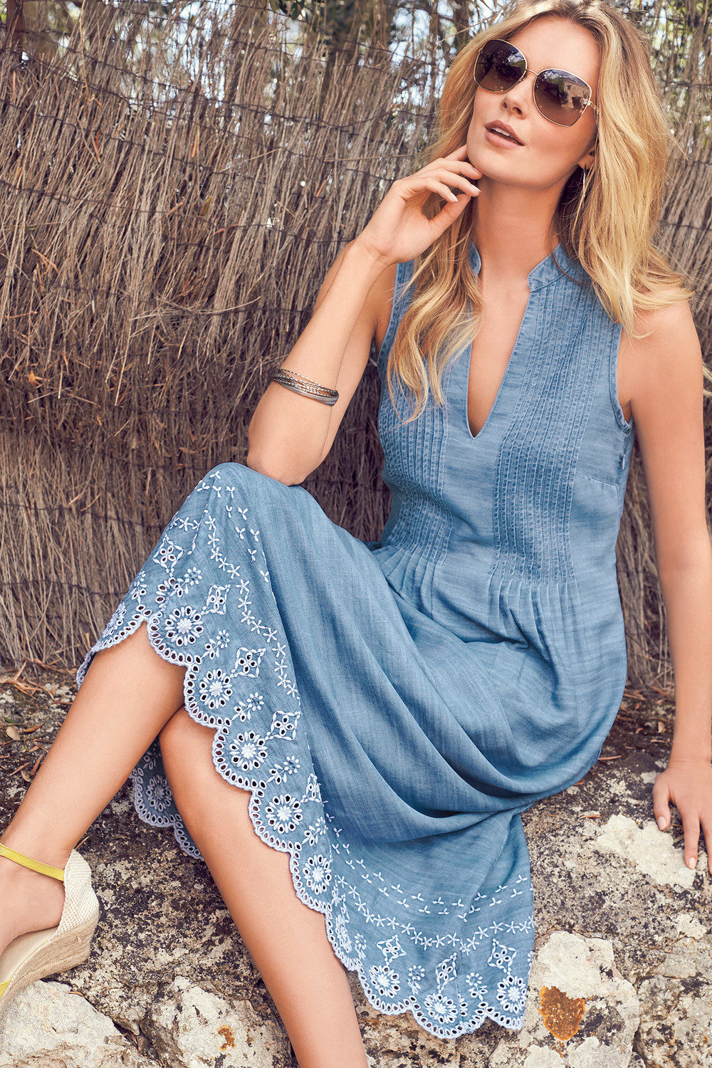 ff542828e5 Quick view. 1 Colour. Kaleidoscope Chambray Broderie Dress ...