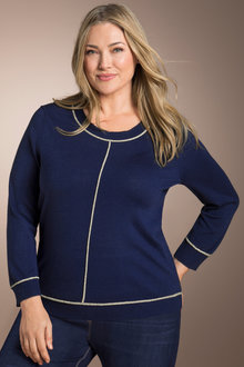 Plus Size - Sara Metallic Trim Sweater