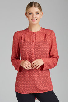 Capture Textured Collarless Shirt