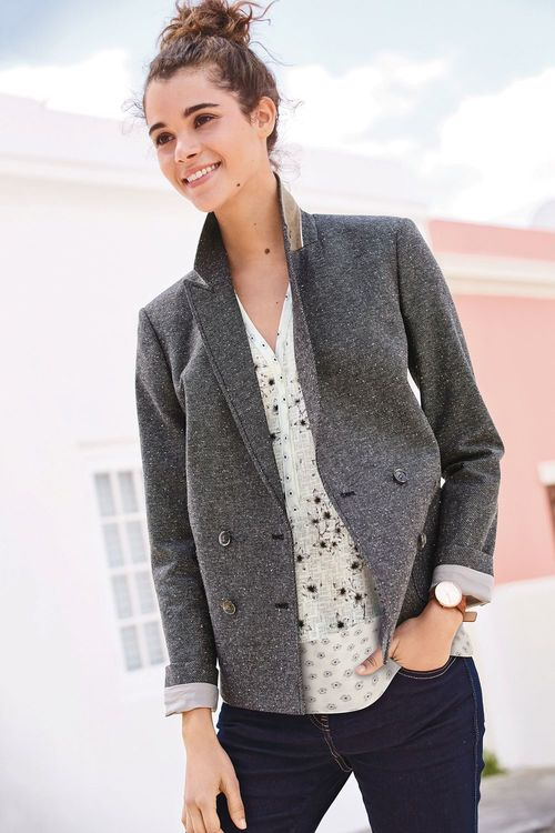 Next Neppy Texture Double Breasted Blazer