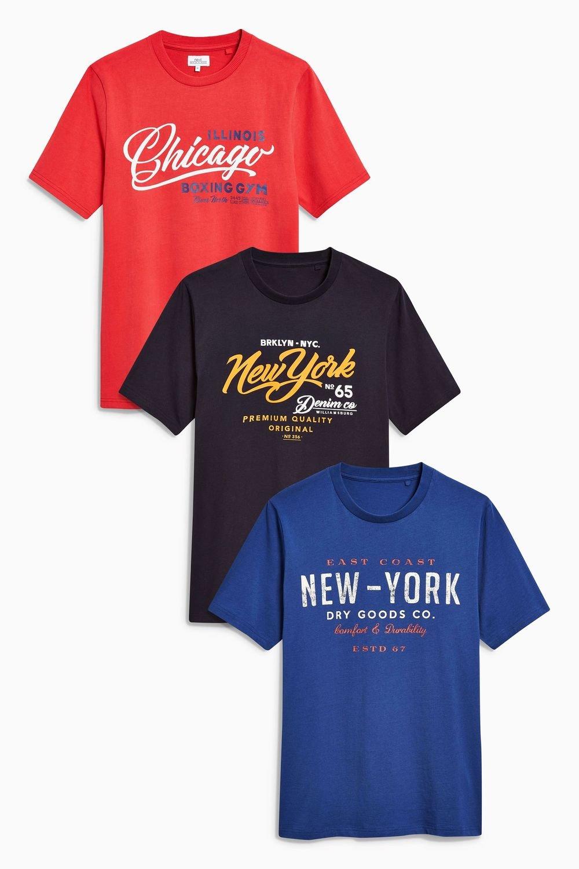 1a11f9122 Next Colour Graphic T-Shirts Three Pack Online | Shop EziBuy