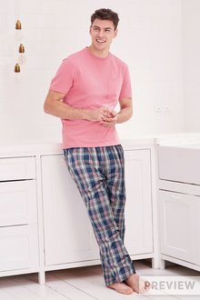Next Pink Check Woven Long Set