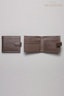 Next Brown Signature Italian Leather Popper Wallet